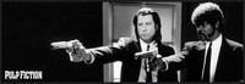 Pulp Fiction - b&w guns rámovaný plakát