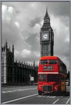 London red bus rámovaný plakát