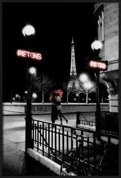 Paříž metro rámovaný plakát