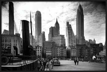 New York - city pier 1937 rámovaný plakát
