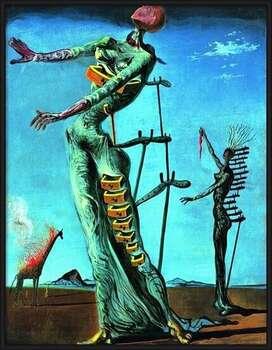 Rámovaný plakát Salvador Dali - Girafe En Feu