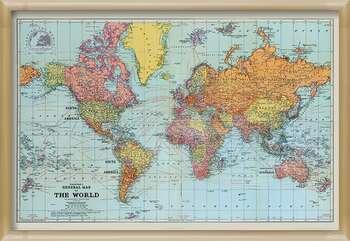 Rámovaný plakát Stanfords General Map Of The World - Colour