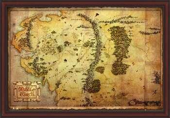 Rámovaný plakát The Hobbit - Middle Earth Map