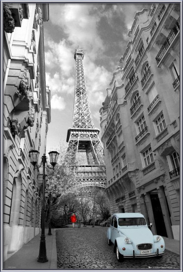Plakát  Paříž - red girl blue car