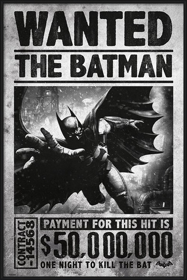 Plakát  BATMAN ARKHAM ORIGINS - wanted