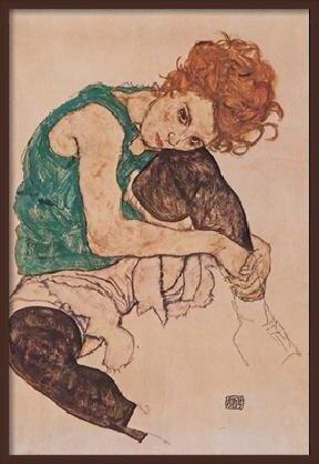 Obrazová reprodukce Umělcova žena - Sedící žena s pokrčenou levou nohou, 1917