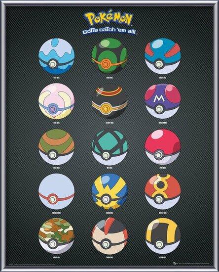 Plakát  Pokemon - Pokeballs