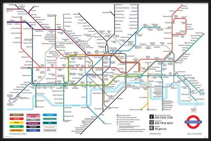 Plakát  Londýnské Metro - mapa Londýnského metra