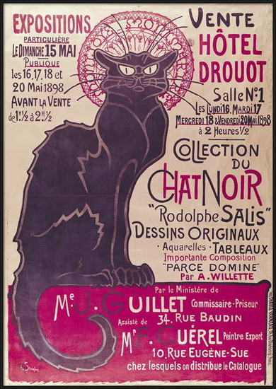 Obrazová reprodukce  Poster advertising an exhibition of the 'Collection du Chat Noir' cabaret at the Hotel Drouot, Paris, May 1898