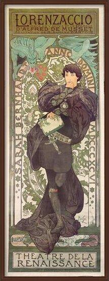 """Obrazová reprodukce  """"Lorenzaccio"""", with Sarah Bernhardt, at the Renaissance at the Théâtre de la Renaissance (poster), 1896"""