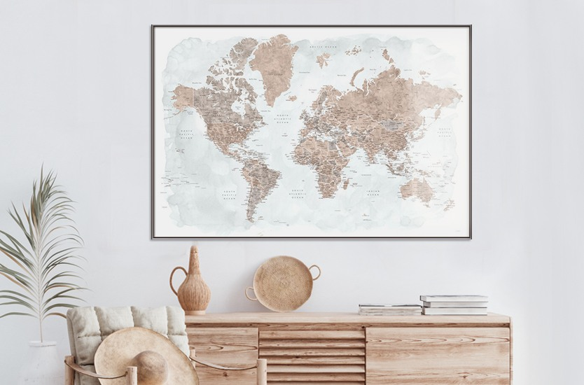 Mapa Neutrals and muted blue watercolor world map with cities, Calista