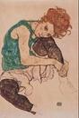 Umělcova žena - Sedící žena s pokrčenou levou nohou, 1917